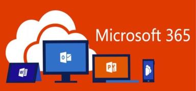 microsoft 365 y varias de sus aplicaciones en pantallas de dispositivos con nube al fondo