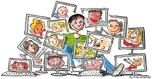 Persona rodeada de pantallas con seres queridos